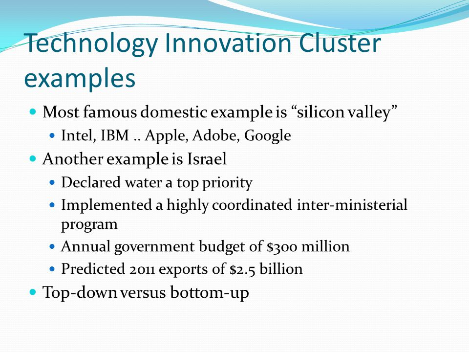 Technology Innovation Cluster examples