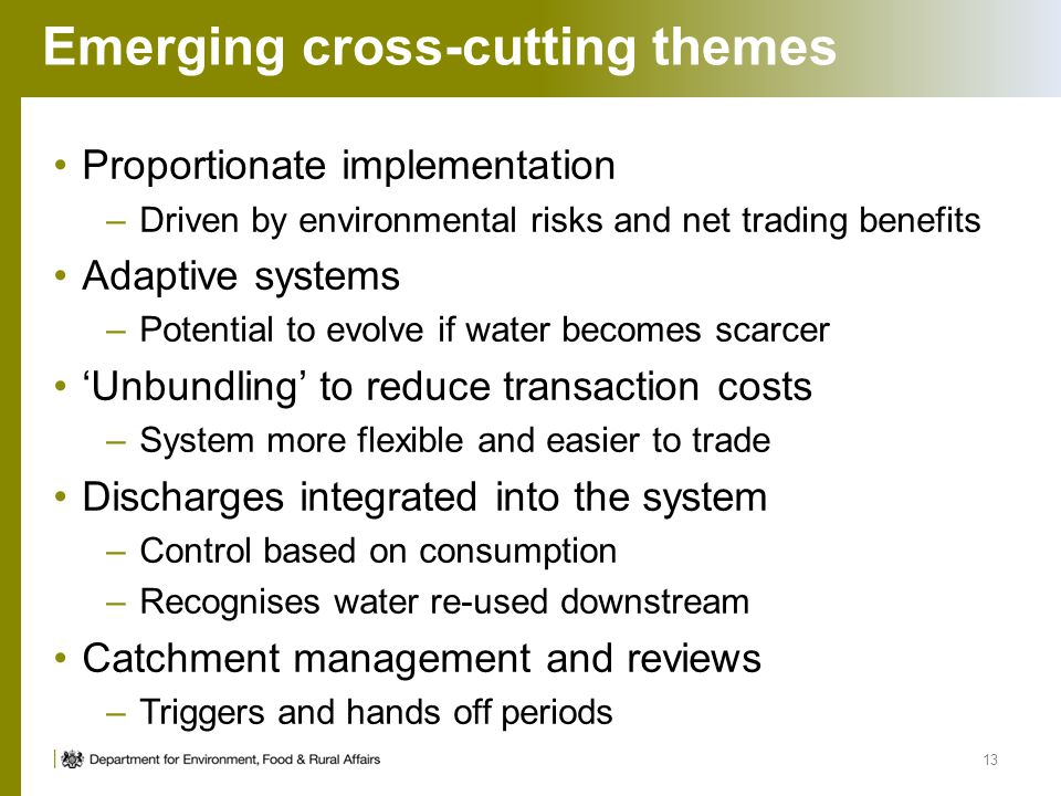 Emerging cross-cutting themes