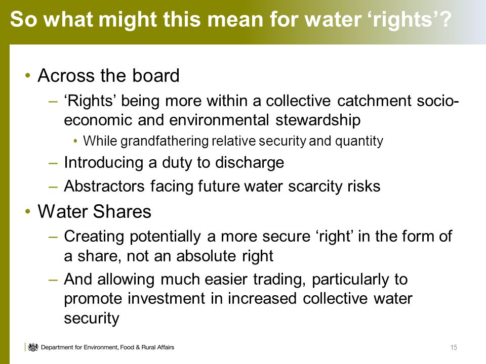 So what might this mean for water 'rights'