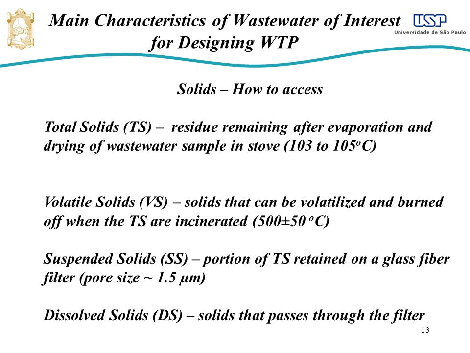 Main Characteristics of Wastewater of Interest for Designing WTP