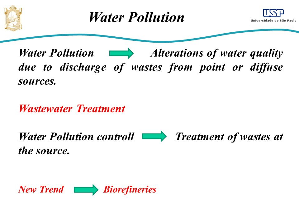 Water Pollution Water Pollution Alterations of water quality due to discharge of wastes from point or diffuse sources.