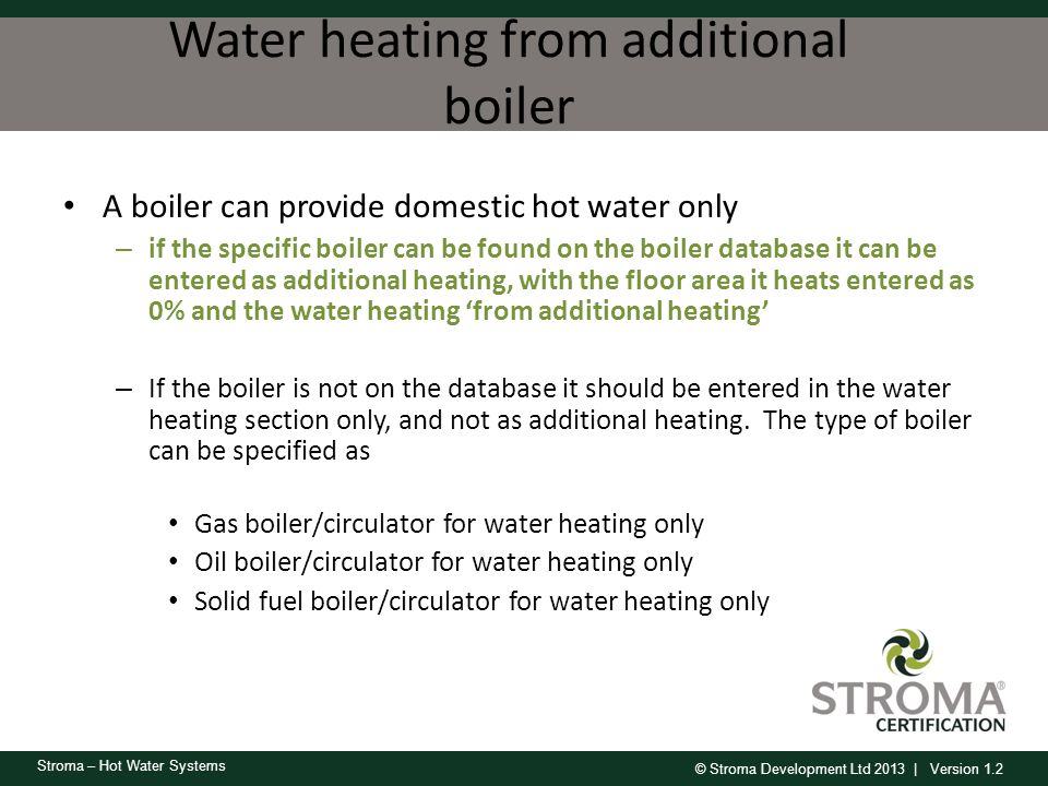 Water heating from additional boiler