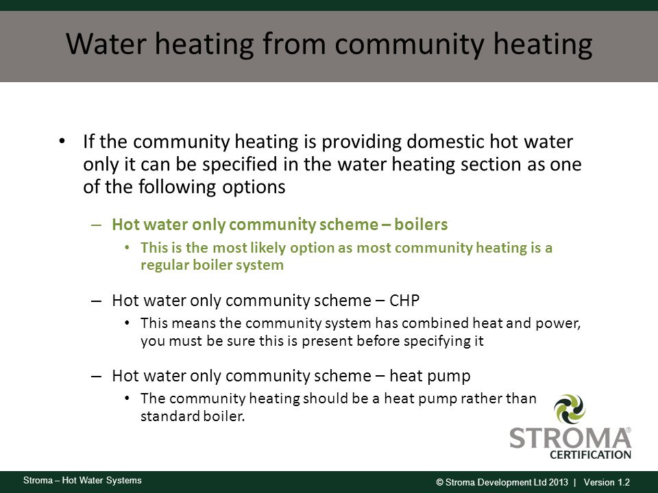 Water heating from community heating