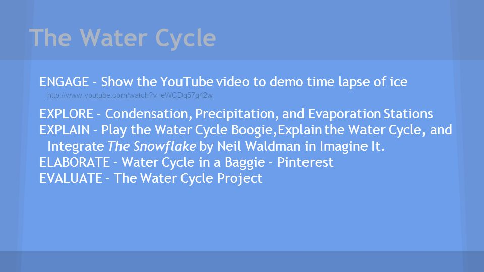 The Water Cycle ENGAGE - Show the YouTube video to demo time lapse of ice. http://www.youtube.com/watch v=eWCDq57g42w.