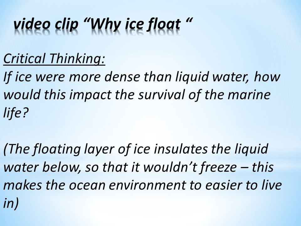 video clip Why ice float