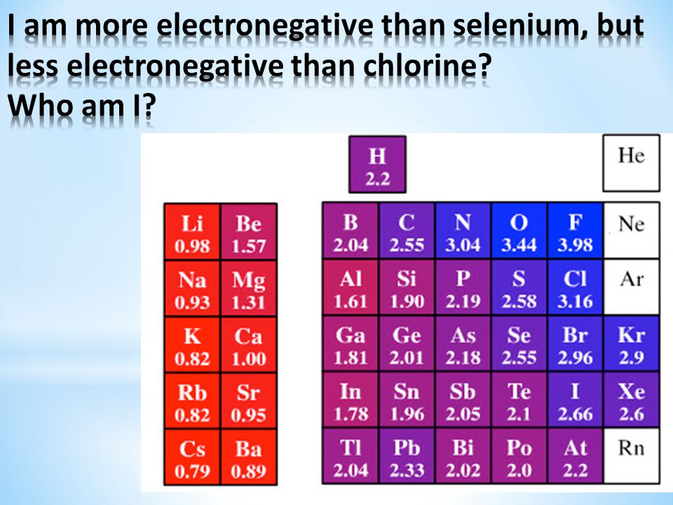 I am more electronegative than selenium, but less electronegative than chlorine Who am I