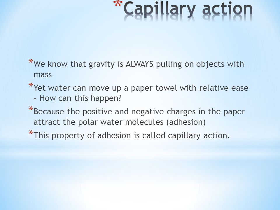 Capillary action We know that gravity is ALWAYS pulling on objects with mass.