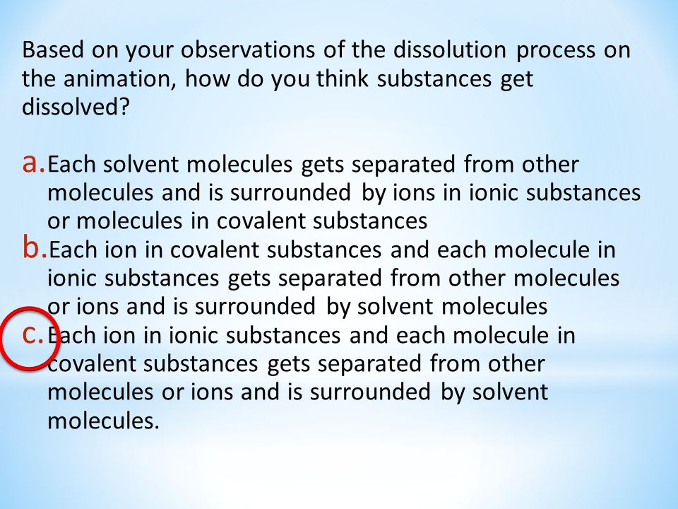 Based on your observations of the dissolution process on the animation, how do you think substances get dissolved