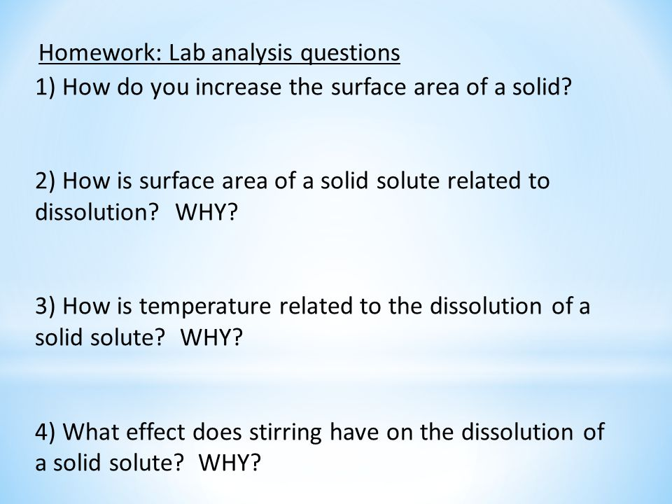 Homework: Lab analysis questions