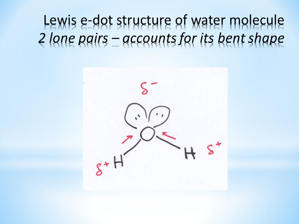 Lewis e-dot structure of water molecule 2 lone pairs – accounts for its bent shape
