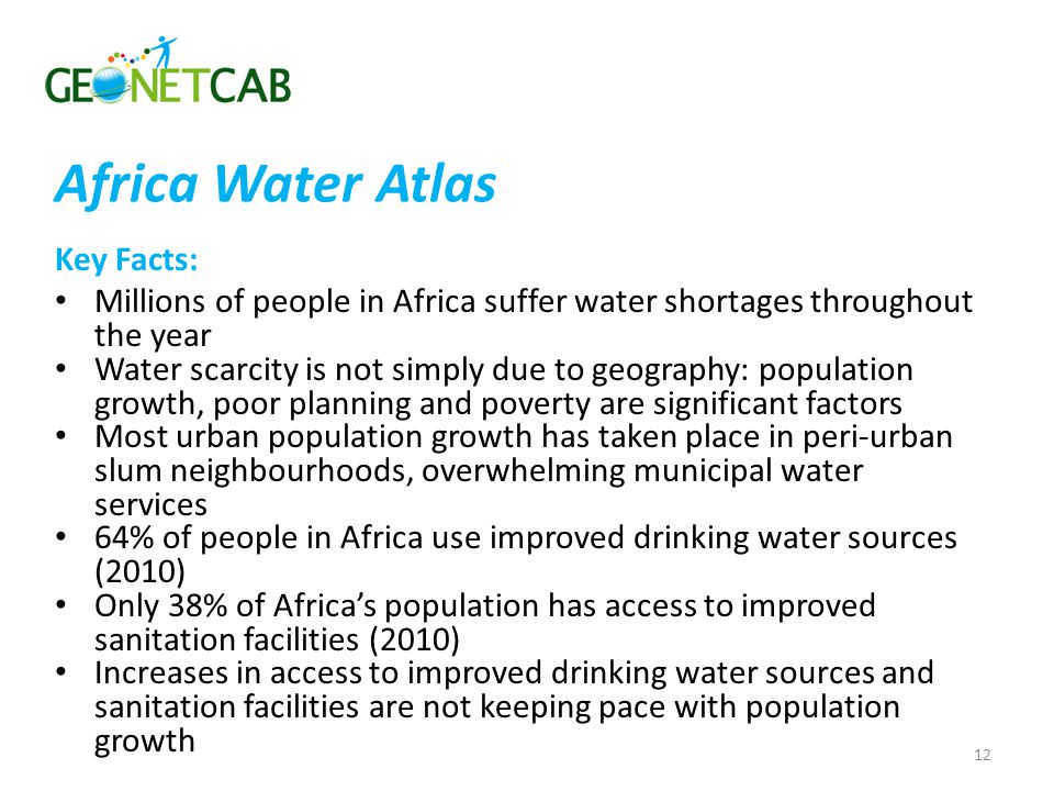 Africa Water Atlas Key Facts:
