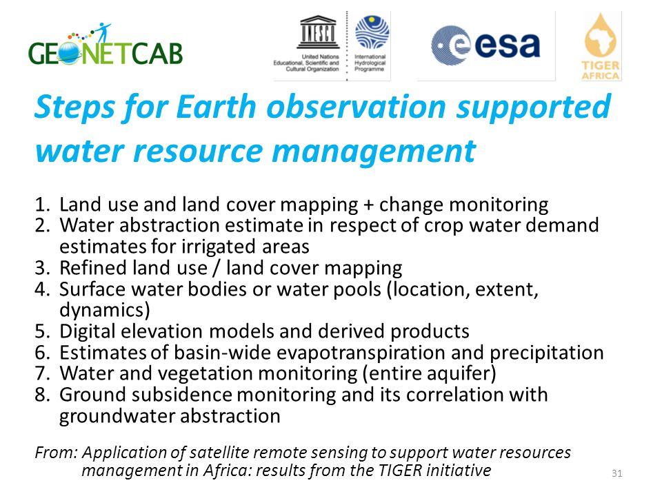 Steps for Earth observation supported water resource management