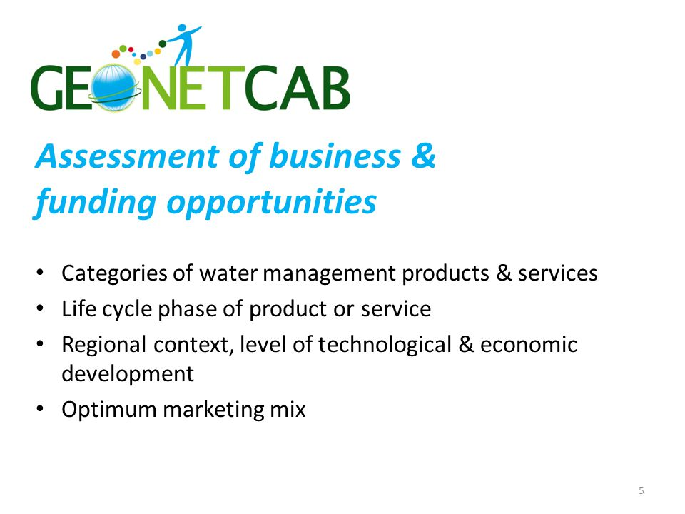 Assessment of business & funding opportunities