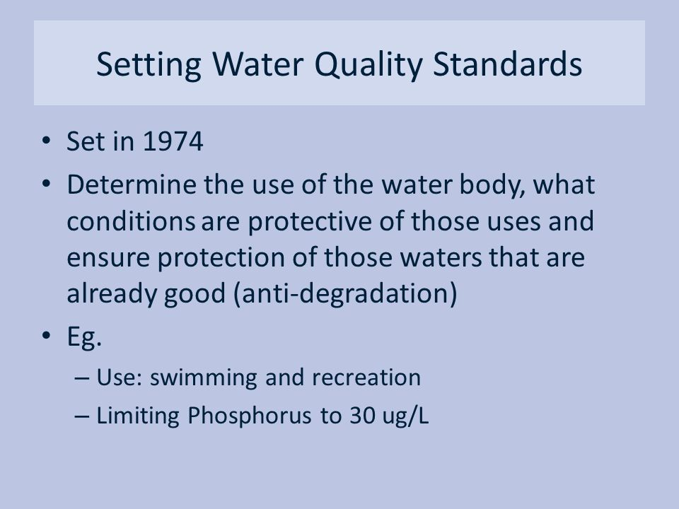 Setting Water Quality Standards