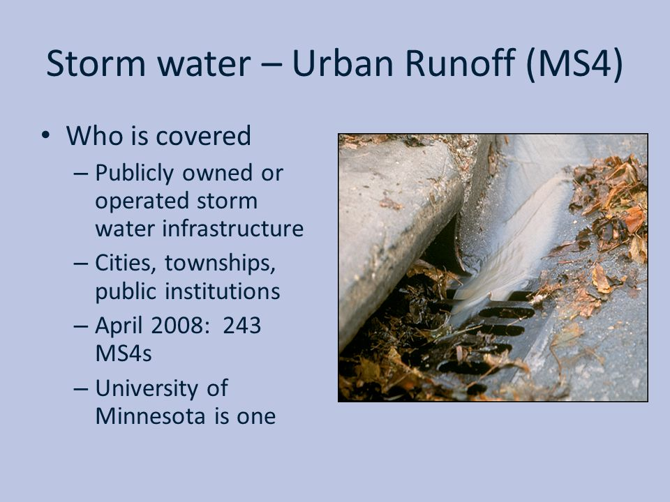 Storm water – Urban Runoff (MS4)