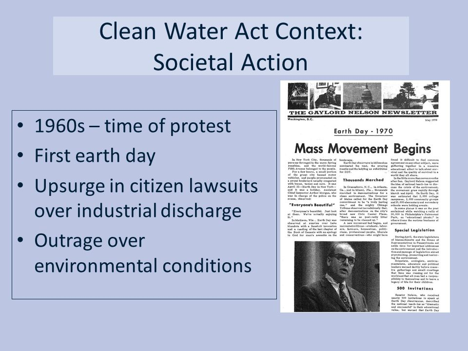 Clean Water Act Context: Societal Action