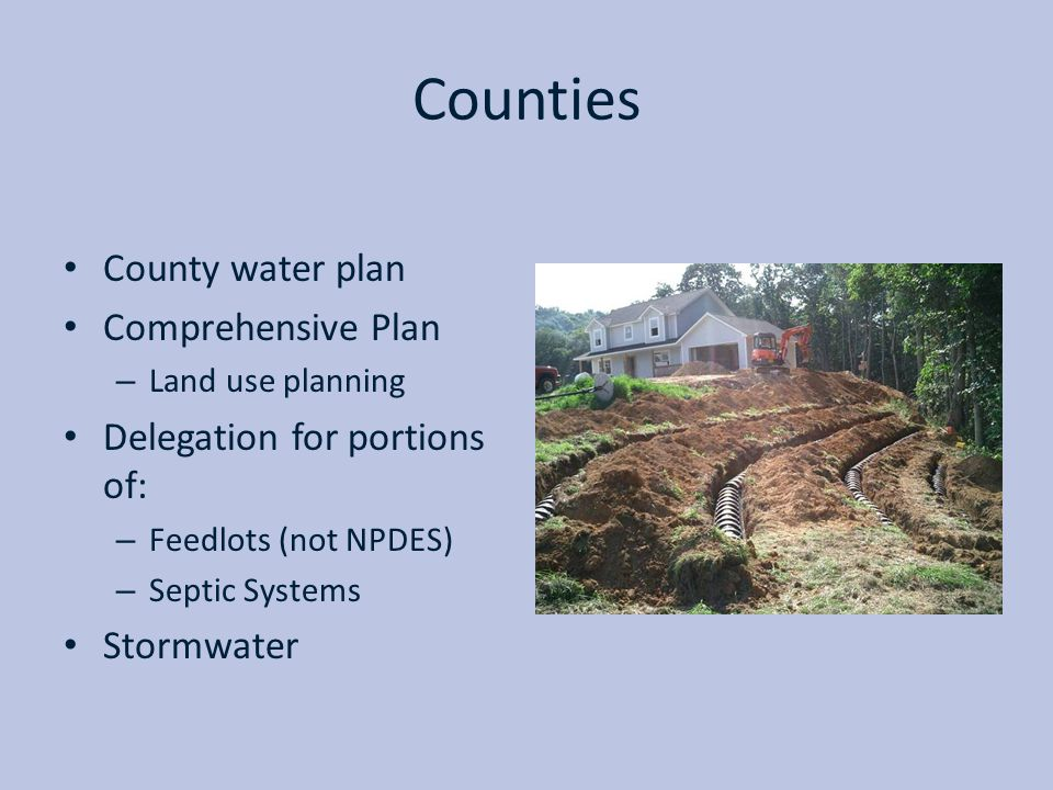 Counties County water plan Comprehensive Plan
