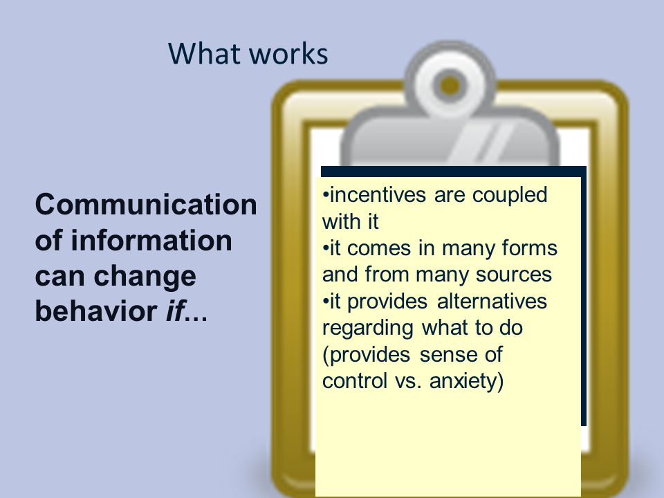 What works Communication of information can change behavior if…