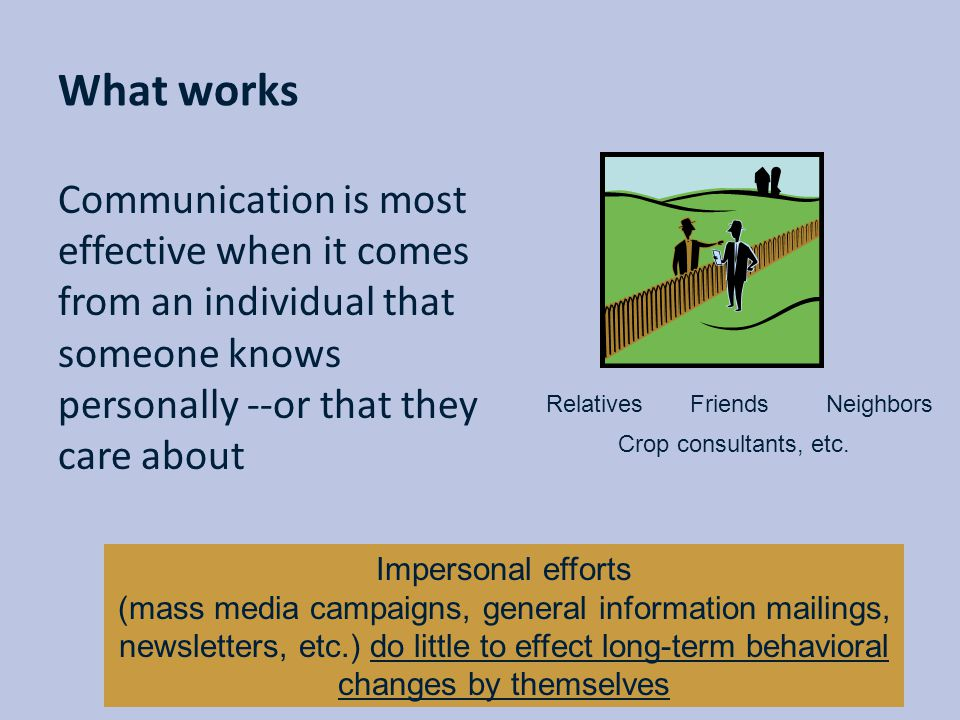 What works Communication is most effective when it comes from an individual that someone knows personally --or that they care about.