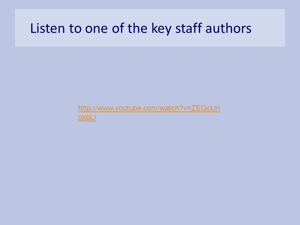 Listen to one of the key staff authors