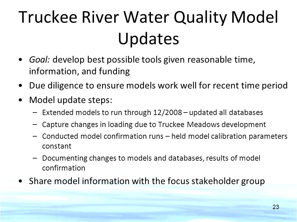 Truckee River Water Quality Model Updates