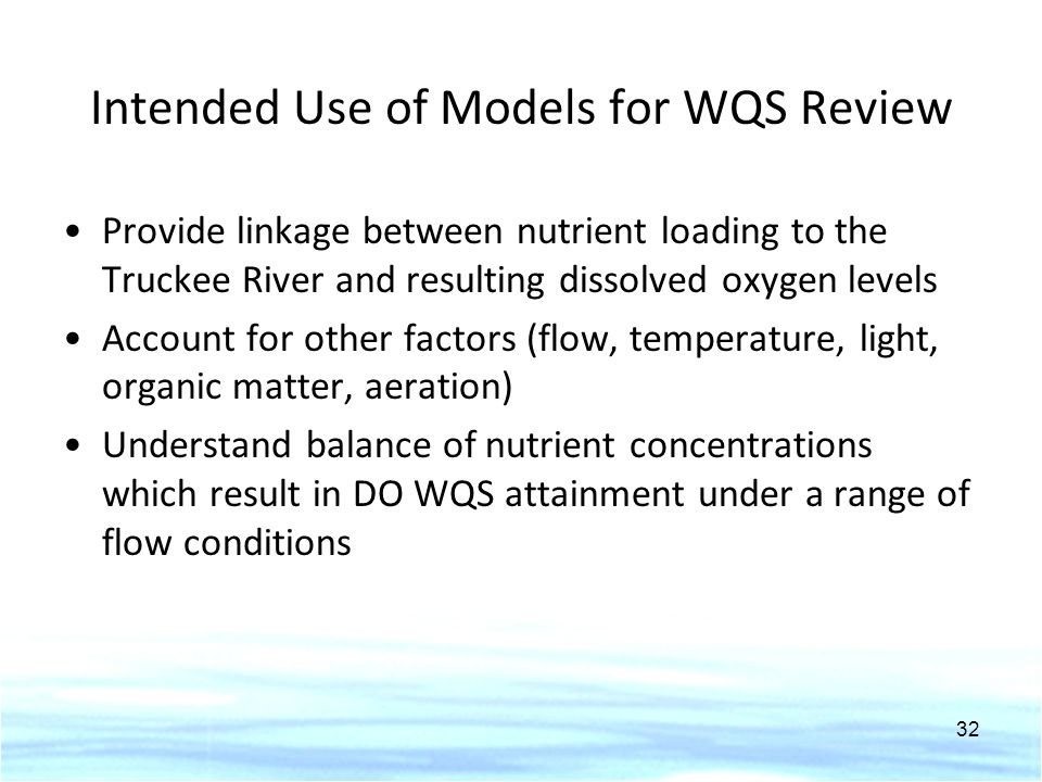 Intended Use of Models for WQS Review