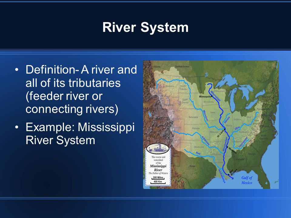 River System Definition- A river and all of its tributaries (feeder river or connecting rivers) Example: Mississippi River System.