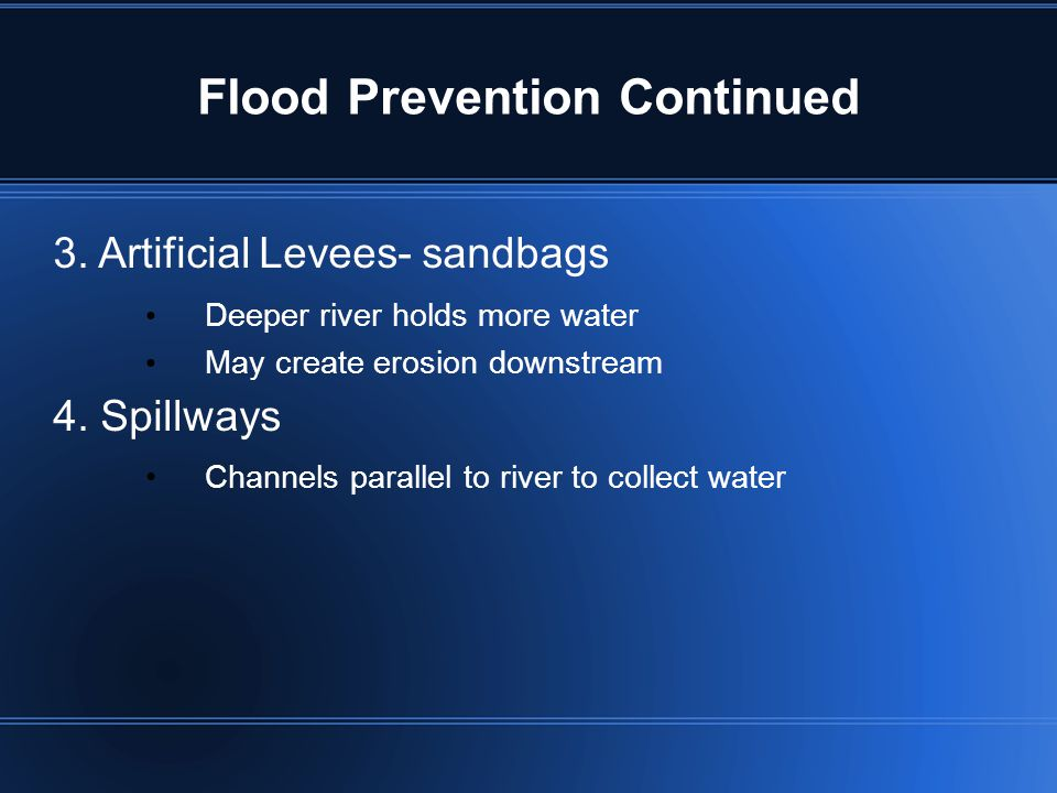 Flood Prevention Continued