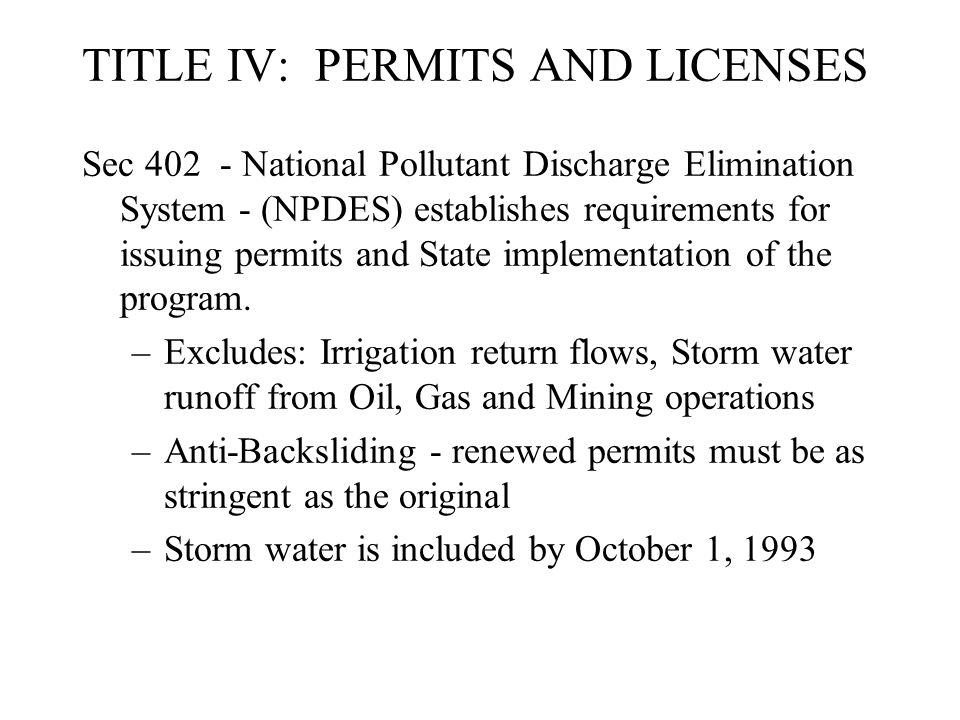 TITLE IV: PERMITS AND LICENSES