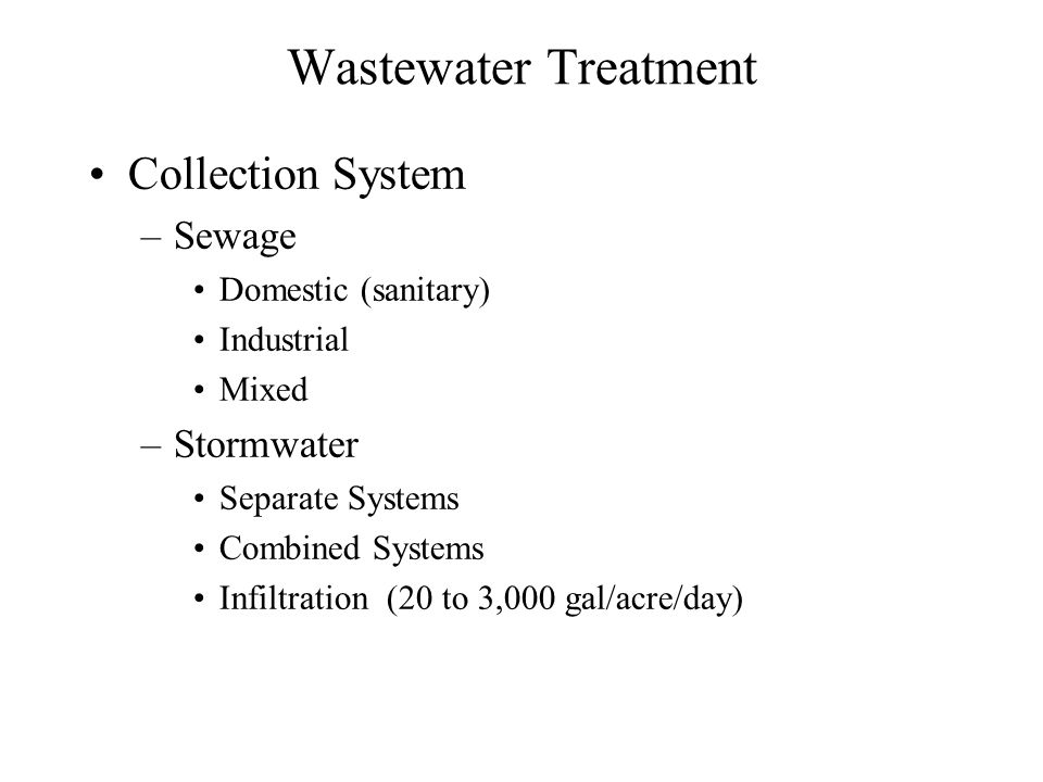 Wastewater Treatment Collection System Sewage Stormwater