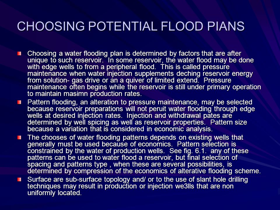 CHOOSING POTENTIAL FLOOD PIANS