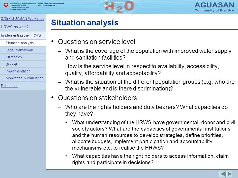 Situation analysis Questions on service level