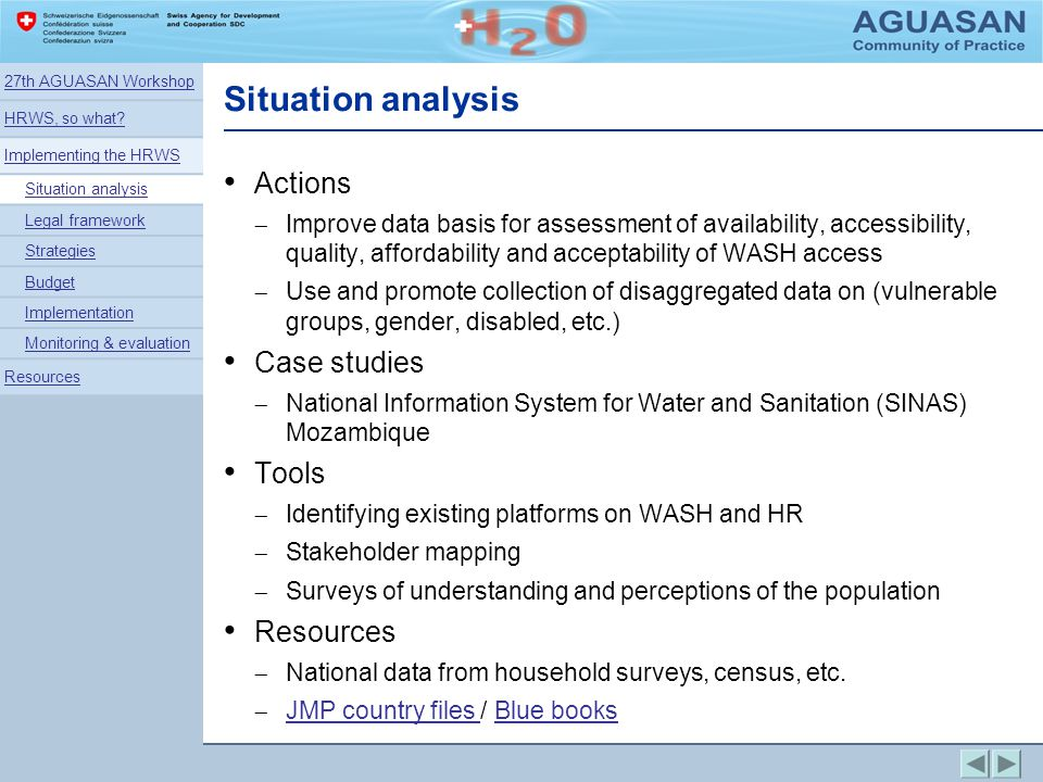 Situation analysis Actions Case studies Tools Resources