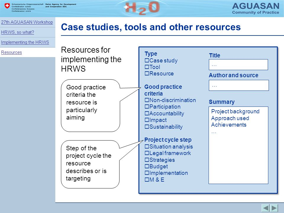 Case studies, tools and other resources