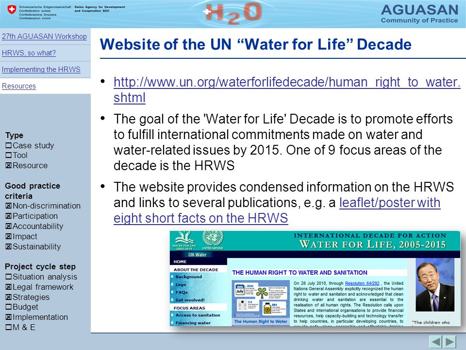 Website of the UN Water for Life Decade