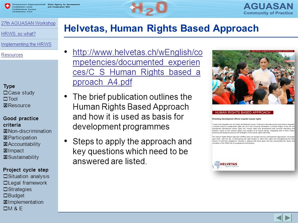 Helvetas, Human Rights Based Approach