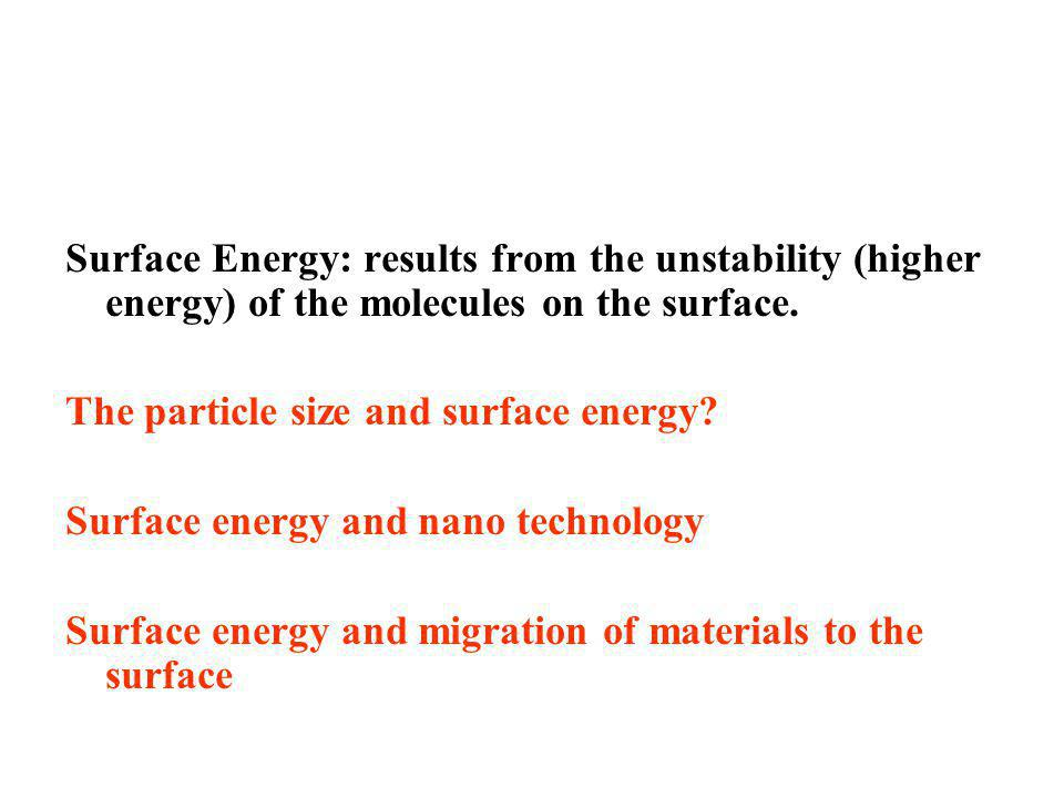 Surface Energy: results from the unstability (higher energy) of the molecules on the surface.