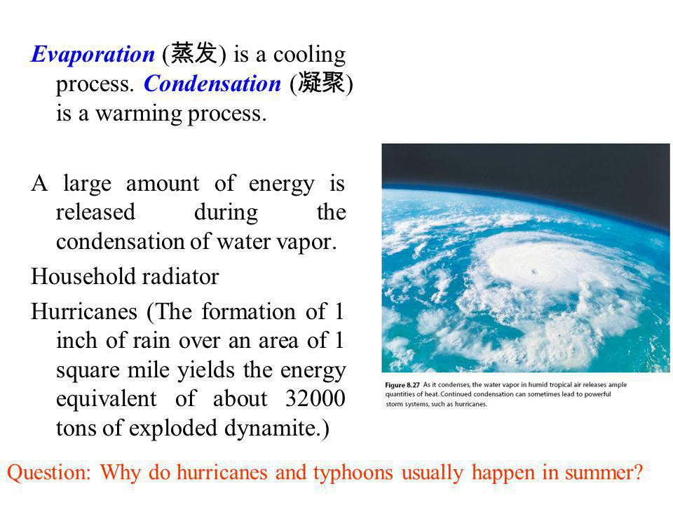 Evaporation (蒸发) is a cooling process