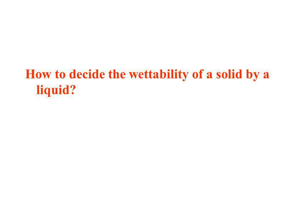 How to decide the wettability of a solid by a liquid