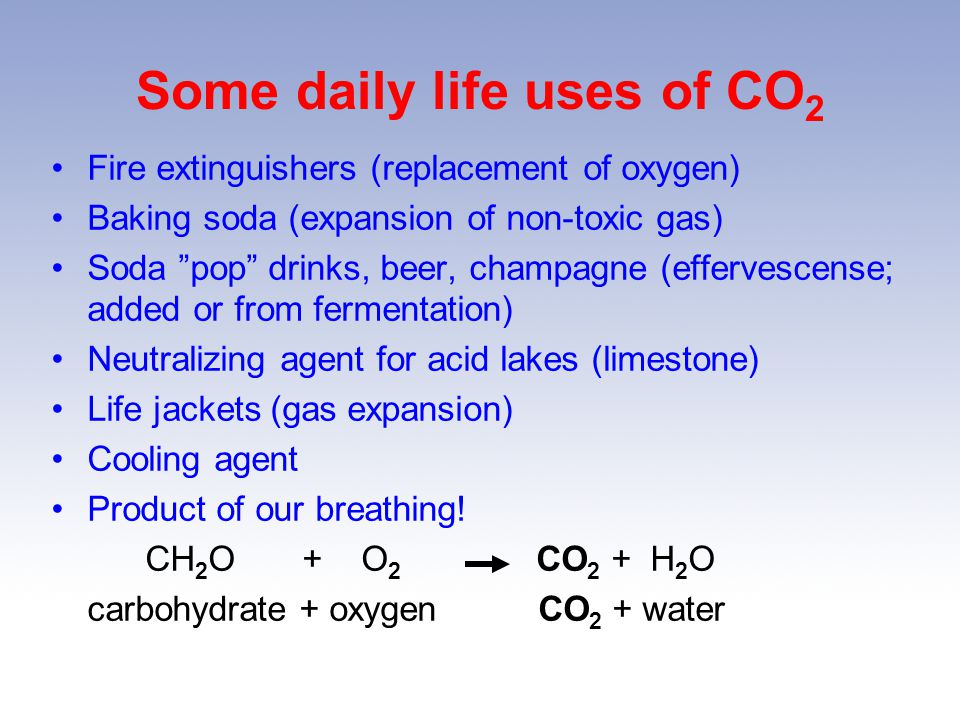 Some daily life uses of CO2