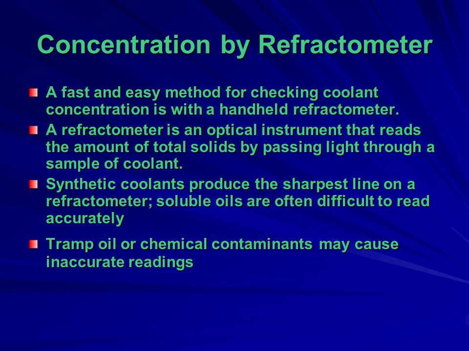 Concentration by Refractometer
