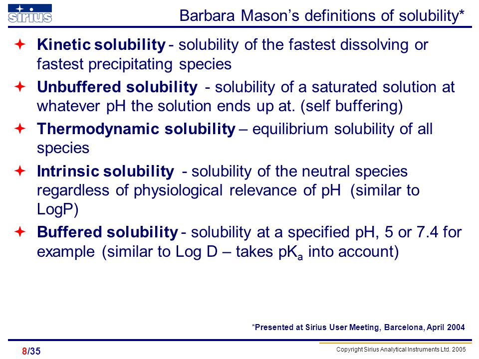 Barbara Mason's definitions of solubility*