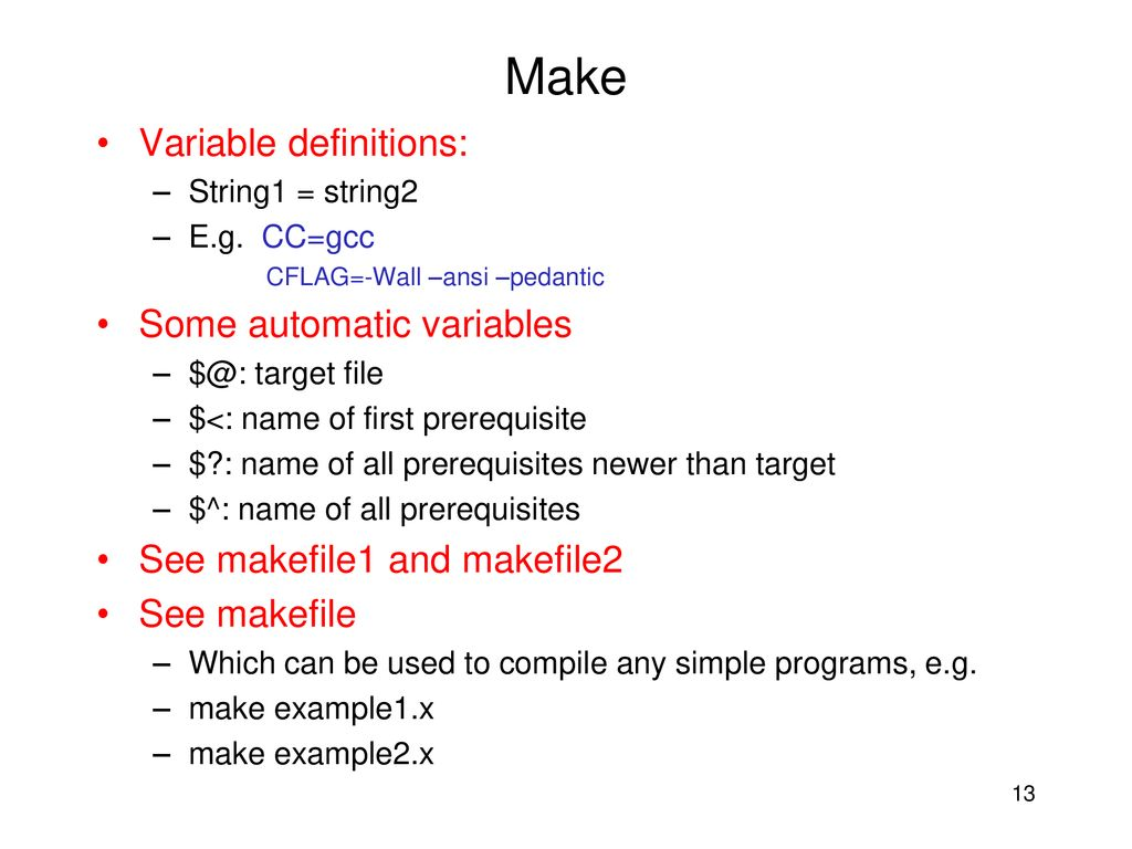 Gnu makefile automatic variables