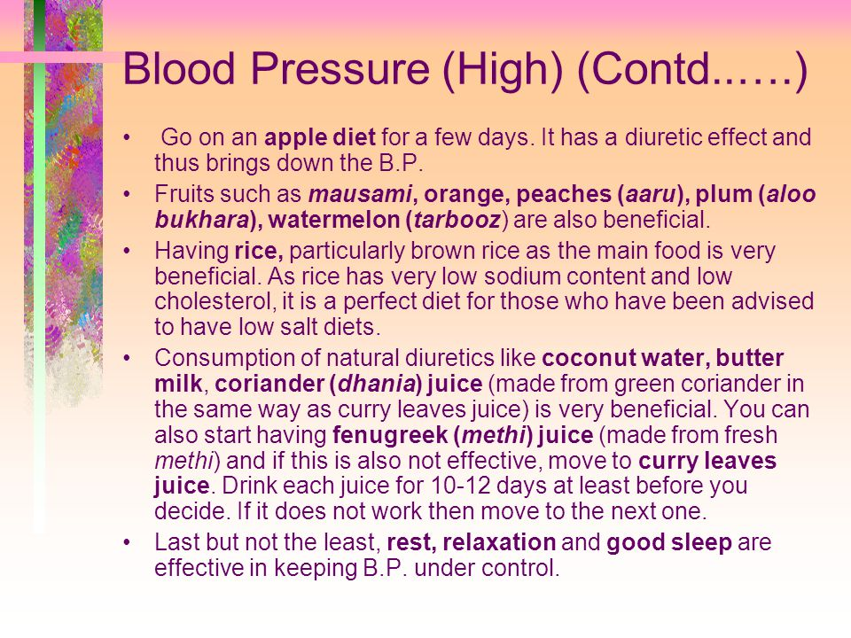 Blood Pressure (High) (Contd..….)