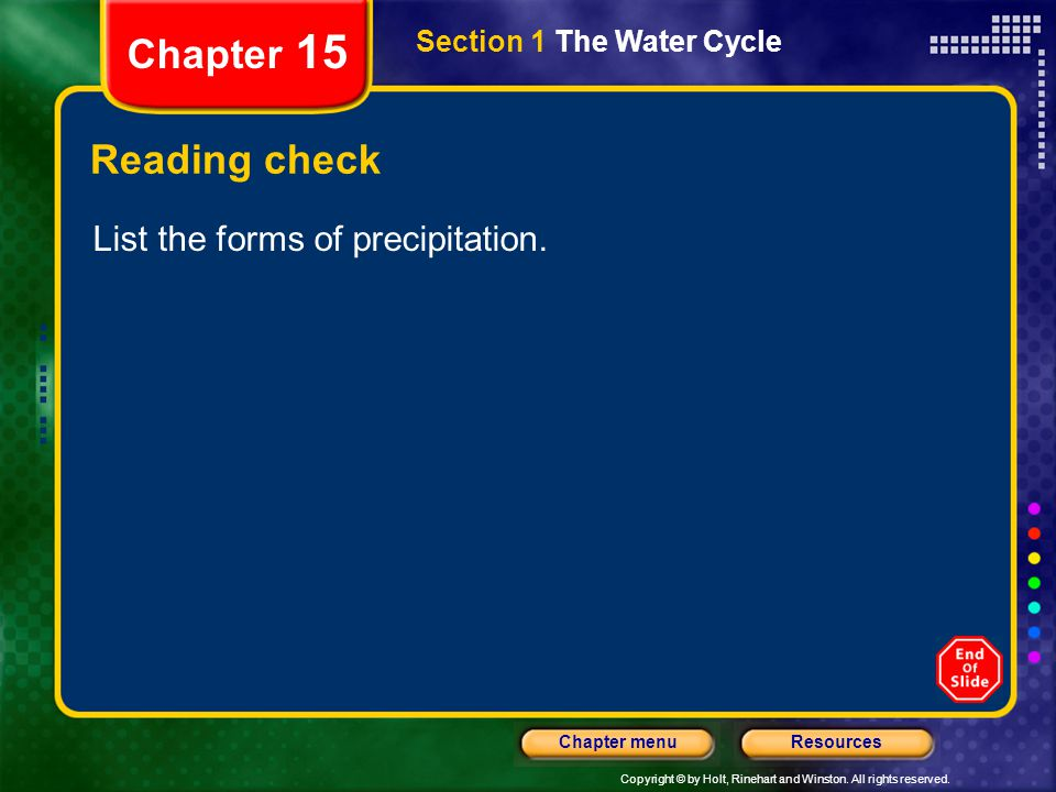 Chapter 15 Reading check List the forms of precipitation.