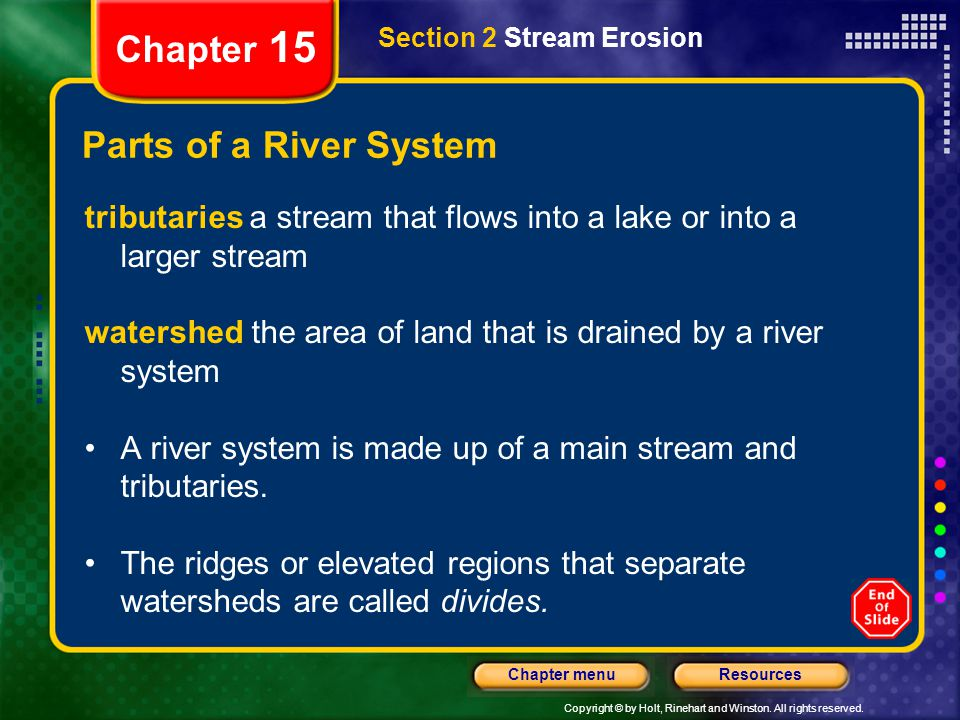 Chapter 15 Parts of a River System