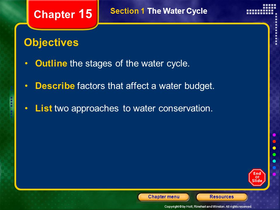 Chapter 15 Objectives Outline the stages of the water cycle.