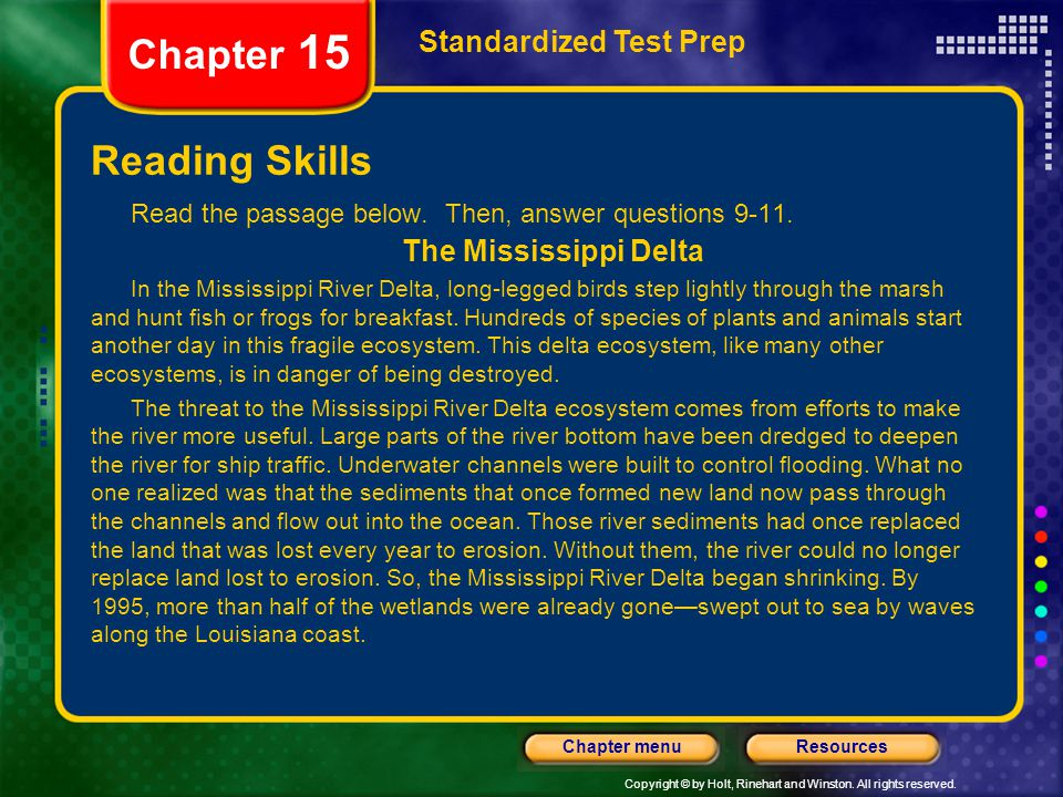 Chapter 15 Reading Skills Standardized Test Prep The Mississippi Delta