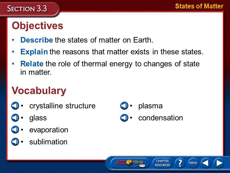 Objectives Vocabulary Describe the states of matter on Earth.