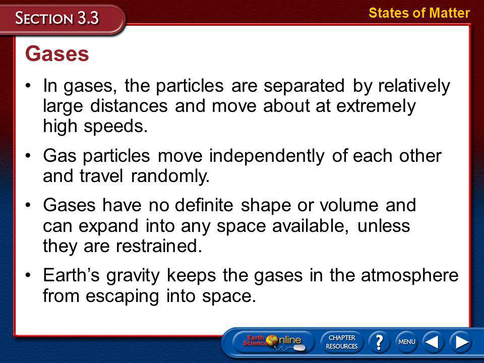 States of Matter Gases. In gases, the particles are separated by relatively large distances and move about at extremely high speeds.